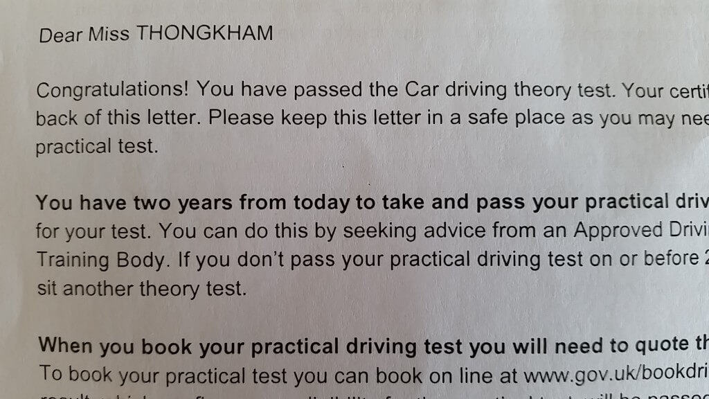 Letter from the DVLA that you receive if you pass your test