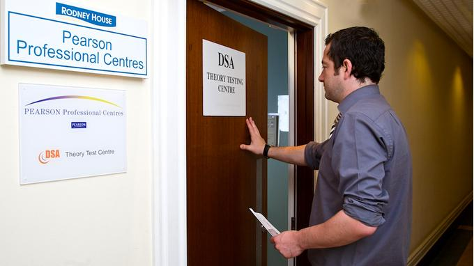 A man entering the DSA theory testing centre